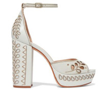 Laser-cut embroidered leather platform sandals