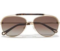 Woman Reece Aviator-style Gold-tone And Tortoiseshell Acetate Sunglasses Brown