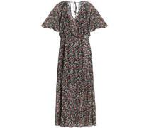 Wrap-effect floral-print chiffon midi dress
