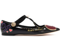Woman Embellished Appliquéd Glossed-leather Point-toe Flats Black