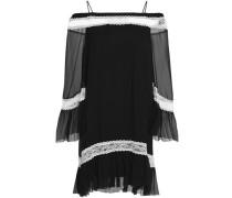 Cold-shoulder Lace-trimmed Silk-chiffon Dress Black