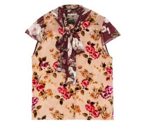 Jeannie Pussy-bow Floral-print Flocked And Fil Coupé Chiffon Blouse Peach