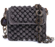Metallic Crochet-knit Shoulder Bag Lavender Size --