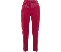 Woman Topstitched Ponte Slim-leg Pants Claret