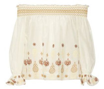 Off-the-shoulder embroidered cotton and silk-blend top