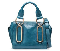 Embellished Glossed-leather Shoulder Bag Teal Size --