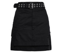 Belted Paneled Twill Mini Skirt Black