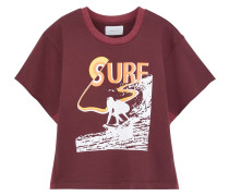 Woman The Pickup Jersey-paneled Printed French Cotton-terry Top Burgundy
