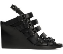 Buckled Leather Wedge Sandals Black