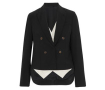 Asymmetric layered stretch-wool and satin-twill blazer