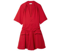 Woman Lace-up Ruched Canvas Mini Dress Crimson