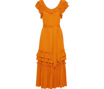 Woman Elio Belted Ruffled Crepe Midi Dress Orange
