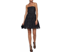 Strapless pleated guipure lace mini dress