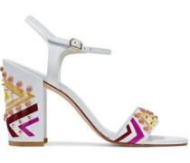 Embellished Leather Sandals White