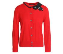 Sequin-embellished wool cardigan