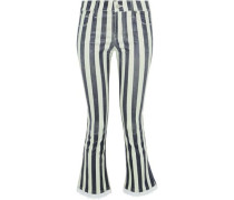 Kiki denim-trimmed striped leather kick-flare pants