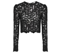 Talia cropped scalloped corded lace top