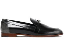 Appliquéd Glossed-leather Loafers Black