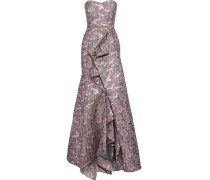 Strapless Draped Brocade Gown Lavender
