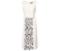Pleated Printed Crepe De Chine And Cady Midi Dress Ivory
