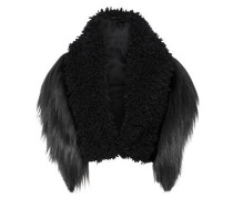 Paneled Faux Fur Bolero Black