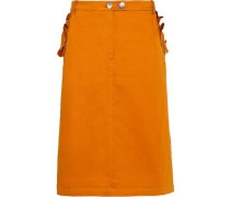 Samantha Ruffle-trimmed Stretch-cotton Poplin Skirt Orange