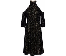Ruthann Cold-shoulder Devoré-chiffon Dress Black Size 0