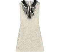 Woman Plissé Tulle-trimmed Cotton Guipure Lace Mini Dress Ivory