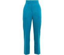 Woman Cropped Stretch Wool-crepe Straight-leg Pants Blue