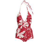 Open-back Floral-print Halterneck Swimsuit Brick