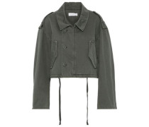 Woman Cropped Cotton-canvas Jacket Army Green