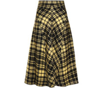 Woman Checked Crinkled-twill Skirt Yellow