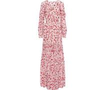 Yvonne Ruffle-trimmed Printed Silk-chiffon Maxi Dress Pastel Pink