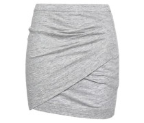 Mélange Ruched Cotton And Modal-blend Mini Skirt Light Gray