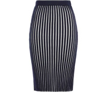 Woman Striped Ribbed Wool Pencil Skirt Navy