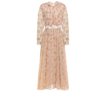 Woman Thelma Belted Metallic Embroidered Tulle Midi Dress Gold