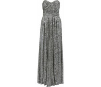 Strapless Gathered Sequined Mesh Gown Gray Size 12