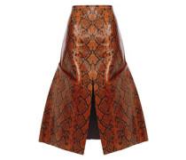 Woman Flared Snake-effect Leather Skirt Animal Print