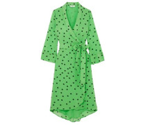 Dainty Floral-print Georgette Wrap Dress Bright Green