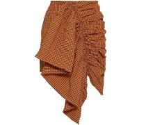 Ruffled Gingham Seersucker Mini Skirt Orange Size 12