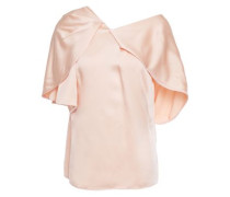 Off-the-shoulder Draped Satin-crepe Top Blush Size 14