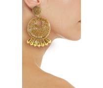 Beaded gold-tone clip earrings