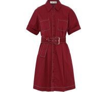 Belted stretch-cotton mini shirt dress