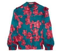 Woman Ziggy Floral-print Fil Coupé Chiffon Blouse Teal