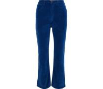 Empire Cropped Velvet Flared Pants Cobalt Blue  5