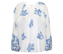 Iborra Embroidered Cotton-voile Blouse White