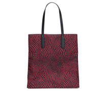 Leather-trimmed shell tote