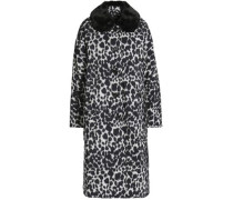 Leopard-print faux fur-trimmed shell down coat