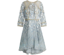 Sequin-embellished metallic embroidered tulle dress