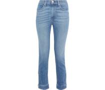 Snap-detailed Faded High-rise Slim-leg Jeans Mid Denim  5
